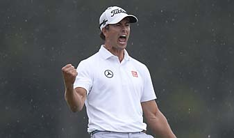 """Adam Scott celebrates after making birdie on the 72 hole of the 2013 Masters. """"On 18, for a second, I kind of let myself think I had won,"""" Scott said."""