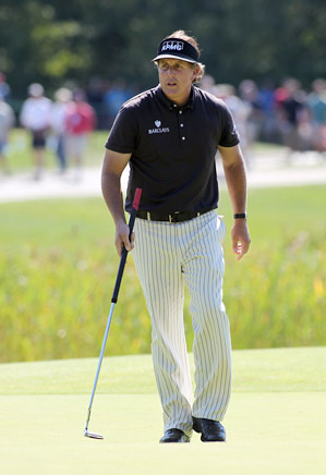Phil Mickelson used a belly putter on Friday for the first time in competition.