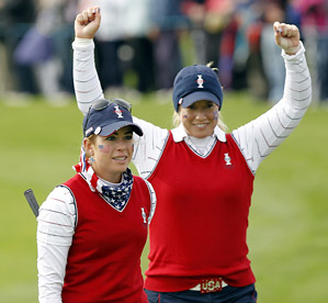 Paula Creamer (left) and Brittany Lincicome won the last two holes of their morning foursome match to defeat Melissa Reid and Karen Stupples one up.