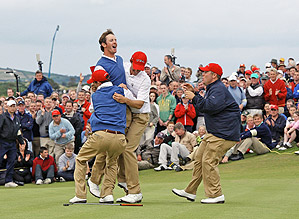 <strong>American Uprising.</strong> U.S. Walker Cuppers lifted Jonathan Moore in                 celebration after he eagled the final hole to win his match and secure                 a 12 1/2-11 1/2 victory for the visitors at Royal County Down in Ireland.