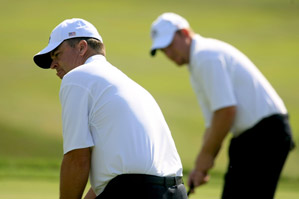 Kenny Perry, left, and J.B. Holmes hope Paul Azinger sends them out first on Friday.