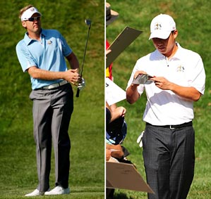 Ian Poulter of Europe, left, and Anthony Kim of the U.S. on Tuesday.