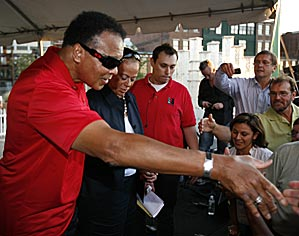 Muhammad Ali and his wife, Lonnie, greeted guests after a welcoming ceremony on Wednesday. Will Louisville's favorite son be enough to inspire the Americans?