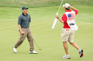 Justin Leonard secured a halve Saturday morning with a clutch putt on 17.
