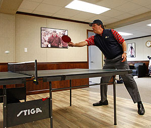 Mickelson snuck in some table tennis Wednesday before practicing for the Presidents Cup.