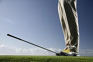 When you step on the clubface until it's parallel with the ground, the shaft will show you the club's trajectory.