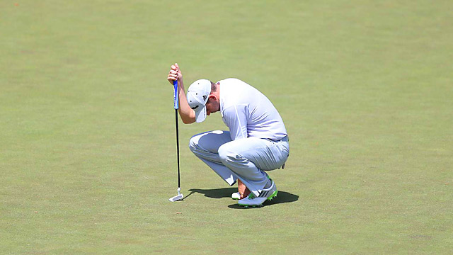 Sergio Garcia struggled in the tough conditions Friday, shooting 76.