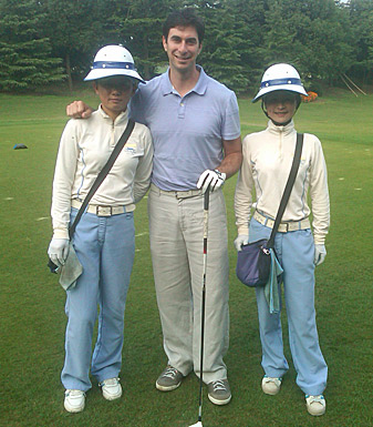 Alan Shipnuck with his caddies, Stella (left) and Midi.