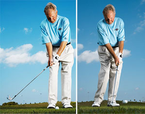 For smoother chips, take the club back like you normally do. Then push your right knee toward the target.