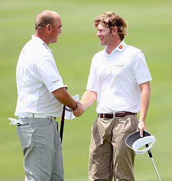 Snedeker, right, defeated Bjorn 5 and 4 in their first match of the tournament.