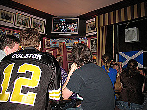 Tom Slattery, a New Orleans native and student at the University of St. Andrews, wore his Marques Colston jersey on Sunday night.
