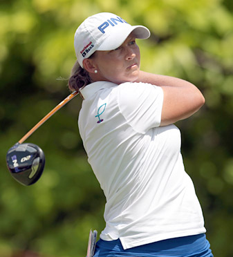 Angela Stanford shot a second-round 70 to move into a three-way tie for the lead.