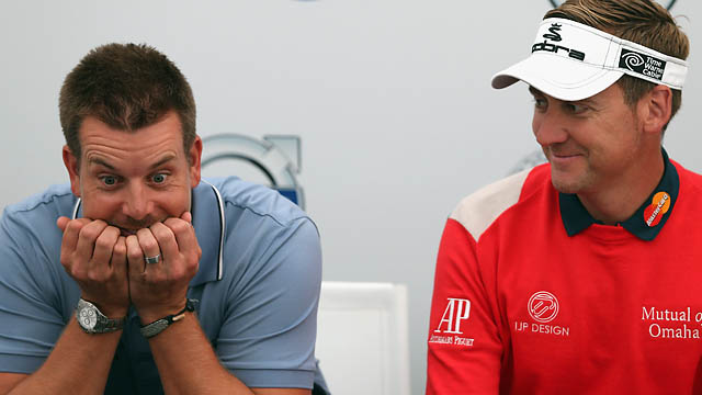 Buddies Henrik Stenson and Ian Poulter joke around at European Tour press conference in May. Stenson and Poulter will have their own radio shows next year on SiriusXM.