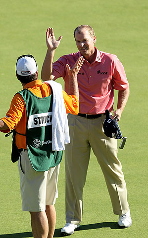 Steve Stricker moved to No. 2 in the world with his win at the Northern Trust Open.