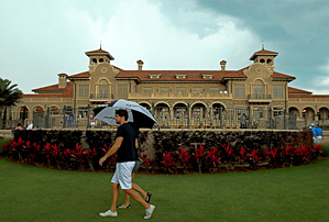 Storms halted play at 1:02 p.m. EDT on Saturday.