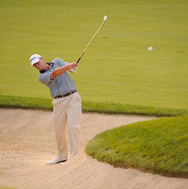 Steve Stricker made an incredible sand save to save his hopes of victory Sunday at Muirfield Village.