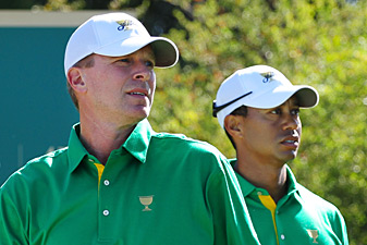 Steve Stricker, left, and Tiger Woods are often paired together during team events.