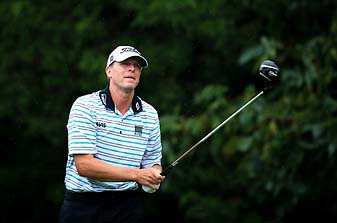 Steve Stricker hits his tee shot on the 18th hole Friday at the PGA Championship in Louisville, Ky.