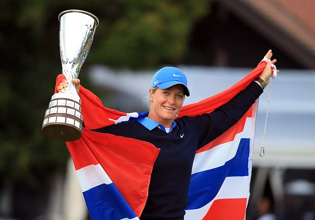 Suzann Pettersen of Norway celebrates after securing victory Sunday at the Evian Championship at the Evian Resort Golf Club in Evian-les-Bains, France.