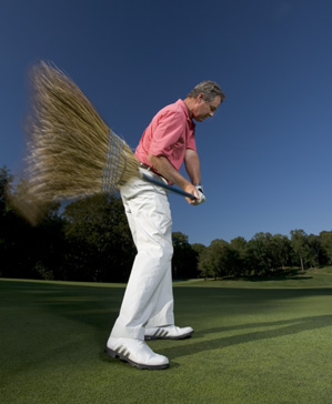"""Swing a broom for five minutes a day to ingrain the feeling of an on-plane swing that finds the """"slot"""" every time."""
