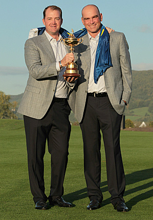 Thomas Bjorn (right, with Peter Hanson) was a vice-captain for the 2010 European Ryder Cup team.
