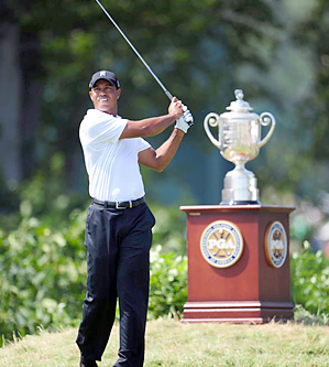 Tiger Woods is trying to win his fifth PGA Championship.