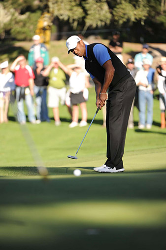 Woods had six birdies on his way to a round of 68.