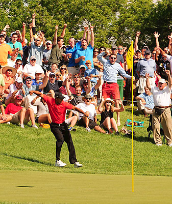 Tiger Woods's chip-in on 16 at Memorial earned him Chamblee's award for Most Exciting Moment of the Year.
