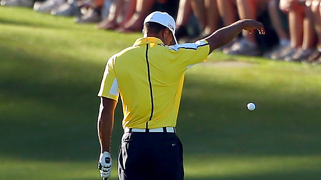 Tiger Woods received a two-stroke penalty for an illegal drop on the 15th hole in the second round.