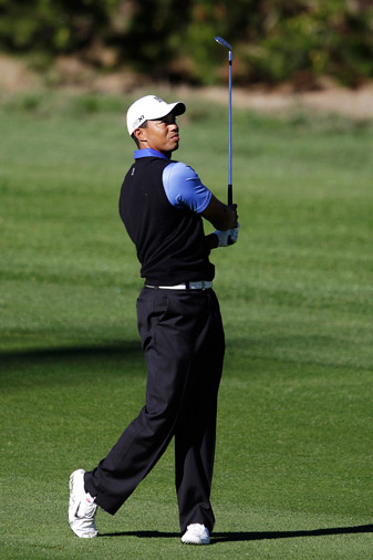 Tiger Woods opened the tournament with a four-under 68 at Spyglass Hill.