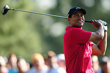 Woods at the 2009 Masters. He has four career wins at Augusta National.