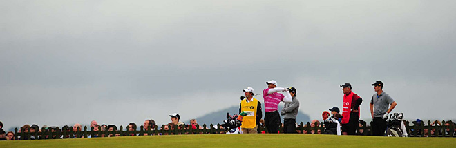Tiger Woods on the 12th tee Thursday.
