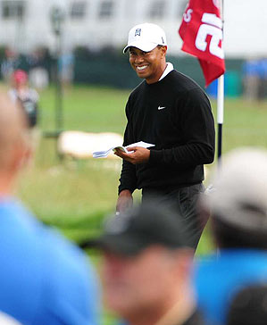 Tiger Woods played the back nine on Tuesday at Bethpage.