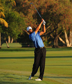Woods got to Doral early on Wednesday for a practice round.