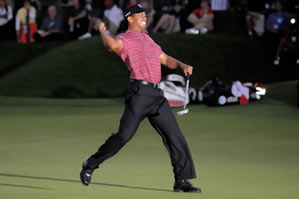 Woods buried the birdie putt at the 18th, his fourth one-putt in five holes, to win for the sixth time at Bay Hill.