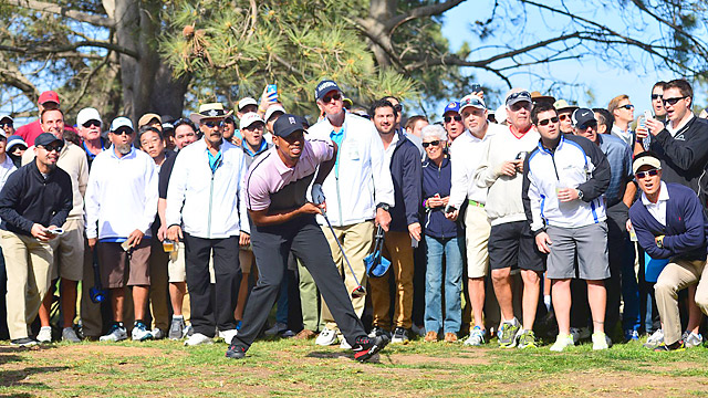 Woods, the defending champion, shot a 72 on Thursday.