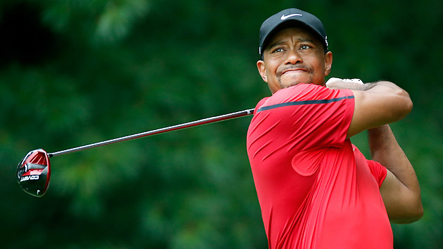 Tiger Woods after a tee shot in the final round of the WGC-Bridgestone Invitational.
