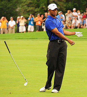 Woods acted anything but muted or predictable on the course.