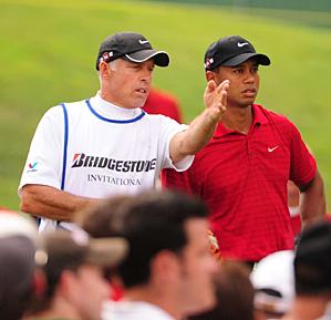 Steve Williams with Tiger Woods at the 2009 WGC Bridgestone Invitational.