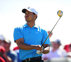 Tiger Woods beat Brendan Jones in his first match of the tournament, 3 and 2.