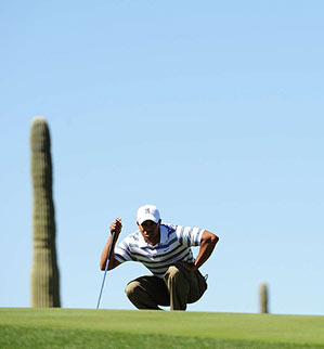 Woods was happy to be back but baffled by the greens at Dove Mountain.