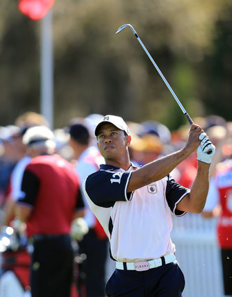 Tiger Woods played in the Tavistock Cup on Monday and Tuesday.