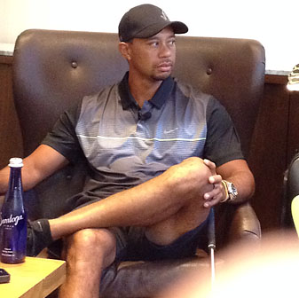 Tiger Woods talked with golf-equipment writers at the Eventi Hotel in New York City on Tuesday morning.
