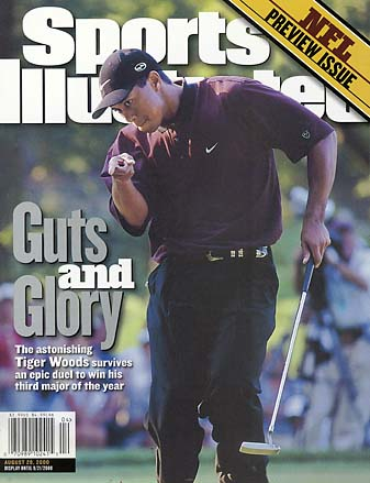 Tiger Woods on the cover of the Aug. 28, 2000, issue of Sports Illustrated after winning the PGA Championship.