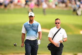Tiger Woods and Sean Foley during a practice round at the 2014 PGA Championship at Valhalla Golf Club. Woods missed the cut, just his fourth time missing the cut at a major as a professional.