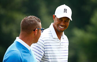 Tiger Woods and Sean Foley at the Bridgestone Invitational in early August.