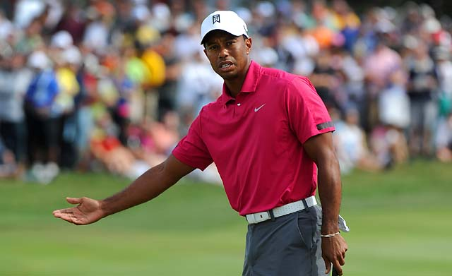 """I was pretty hot because I felt like nothing happened,"" Tiger Woods said about receiving a two-stroke penalty on Friday."