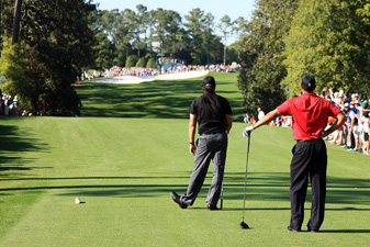 Phil Mickelson and Tiger Woods at the 2009 Masters at Augusta National.
