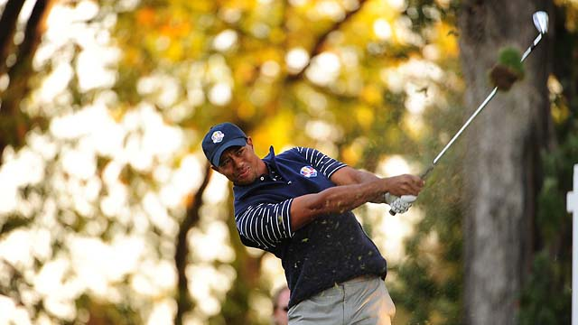 Tiger Woods at the 2012 Ryder Cup at Medinah. Woods has only played on one winning Ryder Cup team in his career, in 1999.
