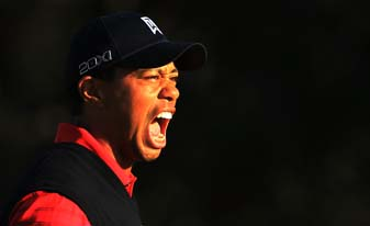 Tiger Woods celebrates his first post-scandal win at the Chevron World Challenge in December 2011. The tournament did not have a title sponsor last year.